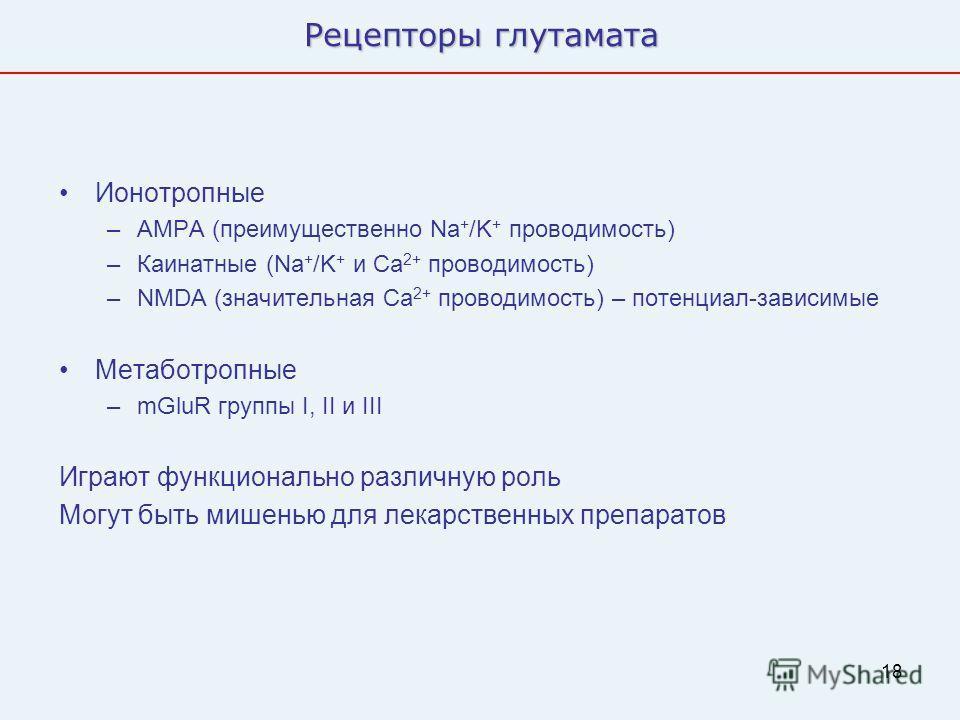 18 Рецепторы глутамата Ионотропные –AMPA (преимущественно Na + /K + проводимость) –Каинатные (Na + /K + и Ca 2+ проводимость) –NMDA (значительная Ca 2+ проводимость) – потенциал-зависимые Метаботропные –mGluR группы I, II и III Играют функционально р
