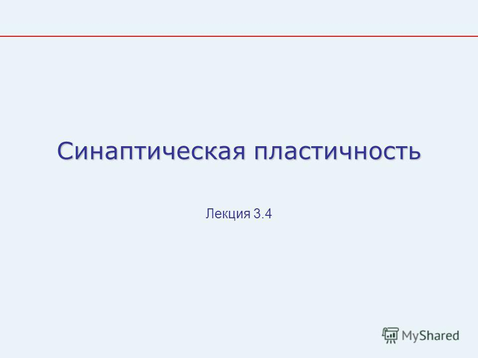 Синаптическая пластичность Лекция 3.4
