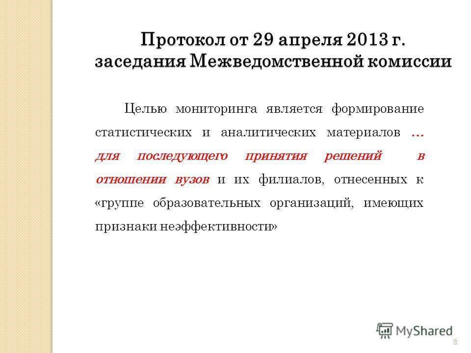 8 Протокол от 29 апреля 2013 г. заседания Межведомственной комиссии Целью мониторинга является формирование статистических и аналитических материалов … для последующего принятия решений в отношении вузов и их филиалов, отнесенных к «группе образовате