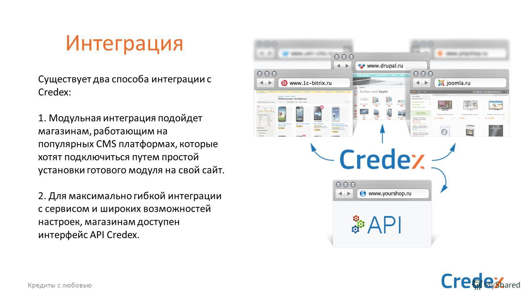 Кредиты с любовью Интеграция Существует два способа интеграции с Credex: 1. Модульная интеграция подойдет магазинам, работающим на популярных CMS платформах, которые хотят подключиться путем простой установки готового модуля на свой сайт. 2. Для макс