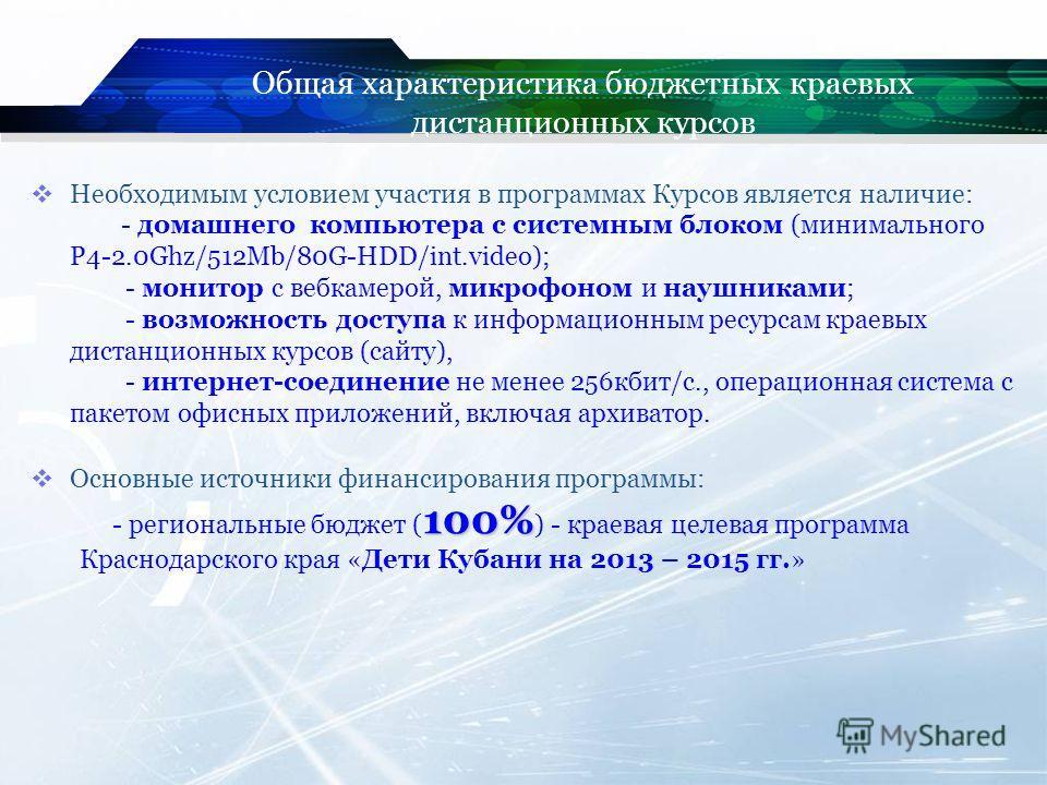 Необходимым условием участия в программах Курсов является наличие: - домашнего компьютера с системным блоком (минимального P4-2.0Ghz/512Mb/80G-HDD/int.video); - монитор с вебкамерой, микрофоном и наушниками; - возможность доступа к информационным рес