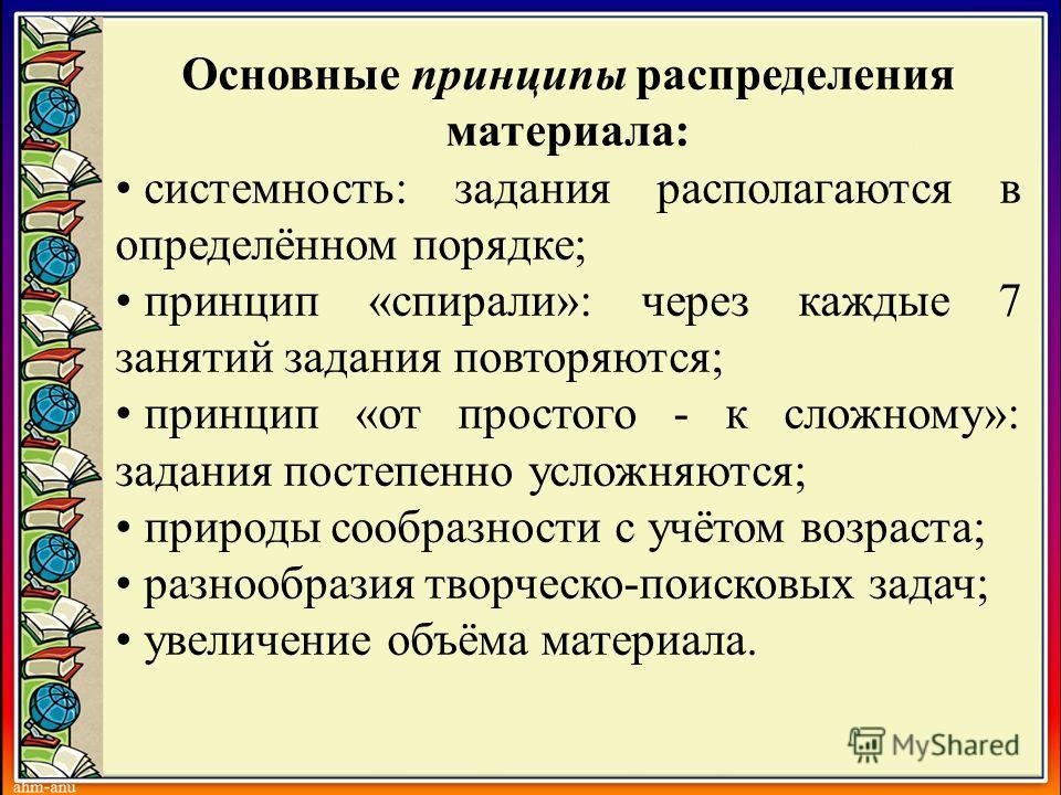 Основные принципы распределения материала: системность: задания располагаются в определённом порядке; принцип «спирали»: через каждые 7 занятий задания повторяются; принцип «от простого - к сложному»: задания постепенно усложняются; природы сообразно
