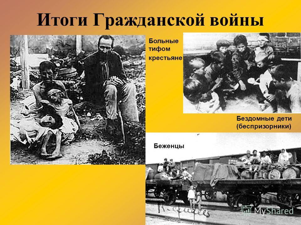 Итоги Гражданской войны Бездомные дети (беспризорники) Беженцы Больные тифом крестьяне