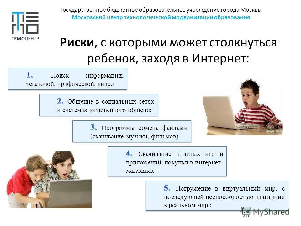 Государственное бюджетное образовательное учреждение города Москвы Московский центр технологической модернизации образования Риски, с которыми может столкнуться ребенок, заходя в Интернет :