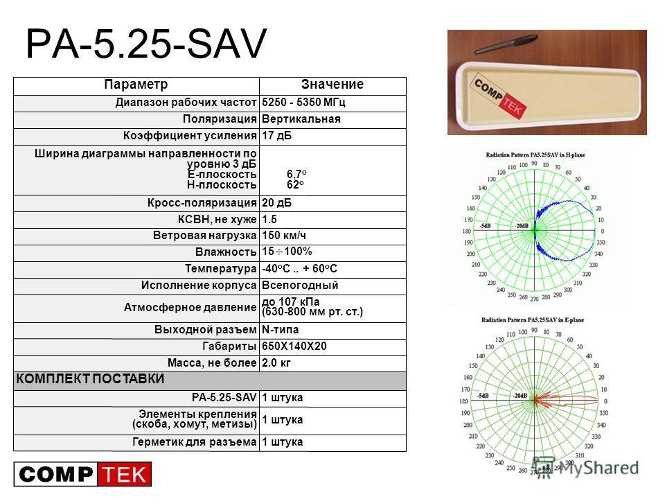 21 PA-5.25-SAV 1 штукаГерметик для разъема 1 штука Элементы крепления (скоба, хомут, метизы) 1 штукаPA-5.25-SAV КОМПЛЕКТ ПОСТАВКИ 2.0 кгМасса, не более 650X140X20Габариты N-типаВыходной разъем до 107 кПа (630-800 мм рт. ст.) Атмосферное давление Всеп