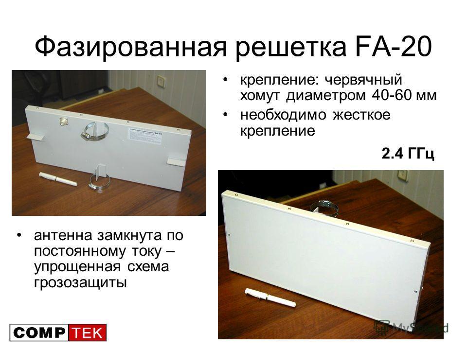 22 Фазированная решетка FA-20 крепление: червячный хомут диаметром 40-60 мм необходимо жесткое крепление антенна замкнута по постоянному току – упрощенная схема грозозащиты 2.4 ГГц
