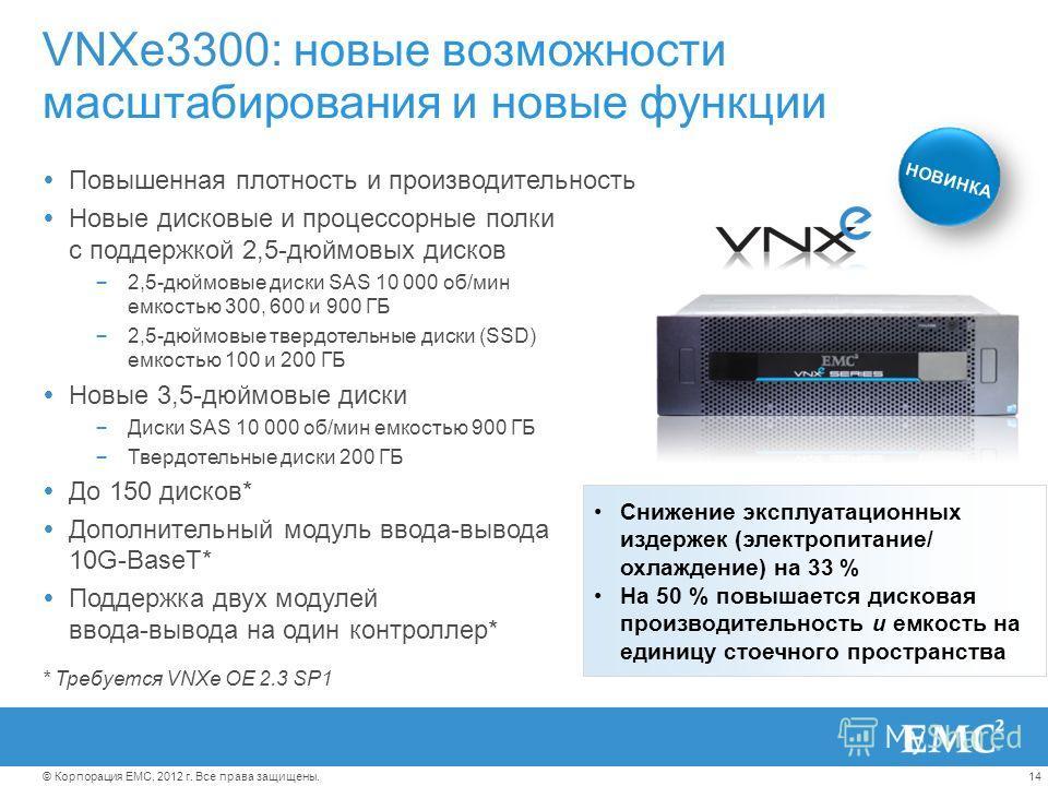14© Корпорация EMC, 2012 г. Все права защищены. VNXe3300: новые возможности масштабирования и новые функции Повышенная плотность и производительность Новые дисковые и процессорные полки с поддержкой 2,5-дюймовых дисков – 2,5-дюймовые диски SAS 10 000