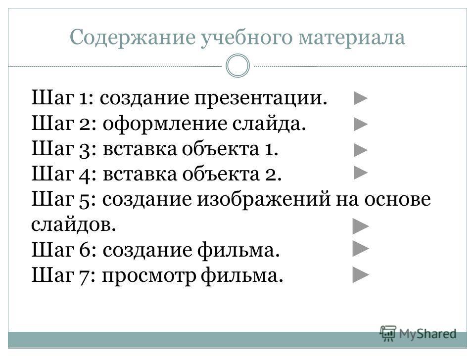 Содержание учебного материала Шаг 1: создание презентации. Шаг 2: оформление слайда. Шаг 3: вставка объекта 1. Шаг 4: вставка объекта 2. Шаг 5: создание изображений на основе слайдов. Шаг 6: создание фильма. Шаг 7: просмотр фильма.