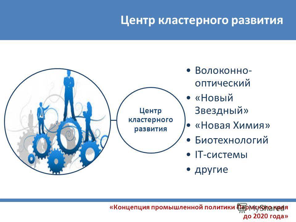 Центр кластерного развития «Концепция промышленной политики Пермского края до 2020 года» Центр кластерного развития Волоконно- оптический «Новый Звездный» «Новая Химия» Биотехнологий IT-системы другие