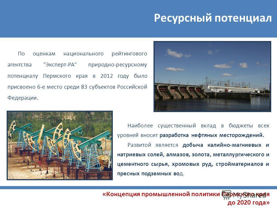 Ресурсный потенциал «Концепция промышленной политики Пермского края до 2020 года» По оценкам национального рейтингового агентства