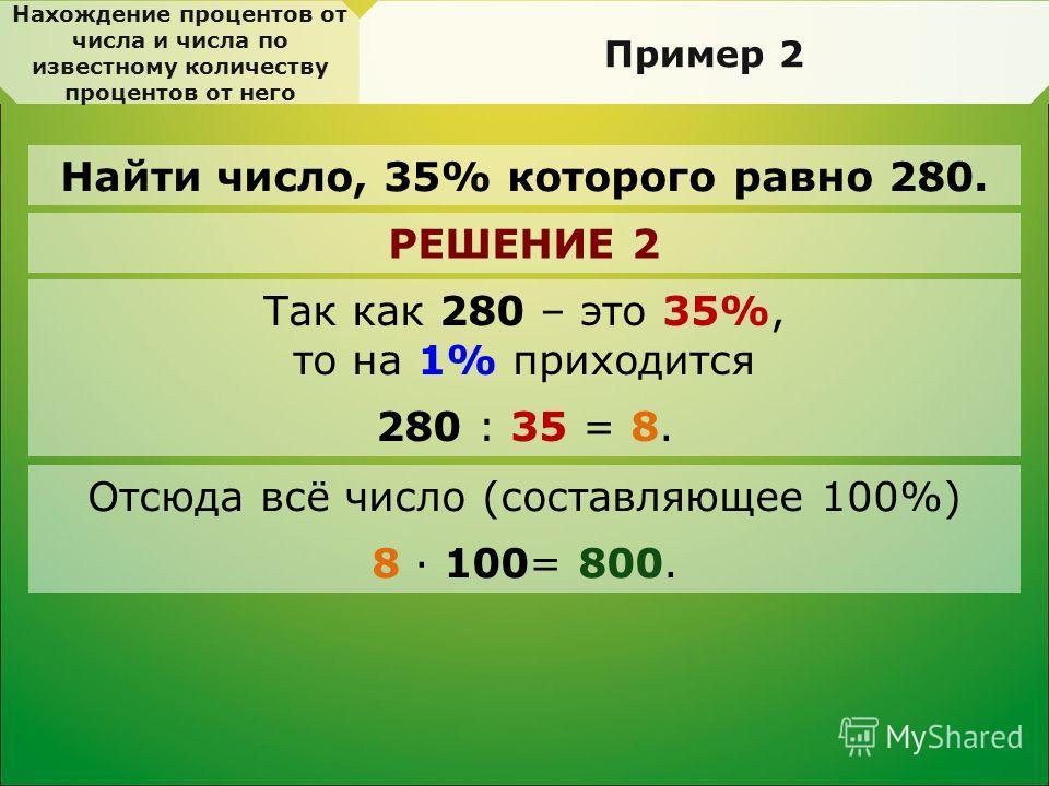 Нахождение процентов от числа и числа по известному количеству процентов от него Пример 2 Найти число, 35% которого равно 280. РЕШЕНИЕ 2 Так как 280 – это 35%, то на 1% приходится 280 : 35 = 8. Отсюда всё число (составляющее 100%) 8 · 100= 800.