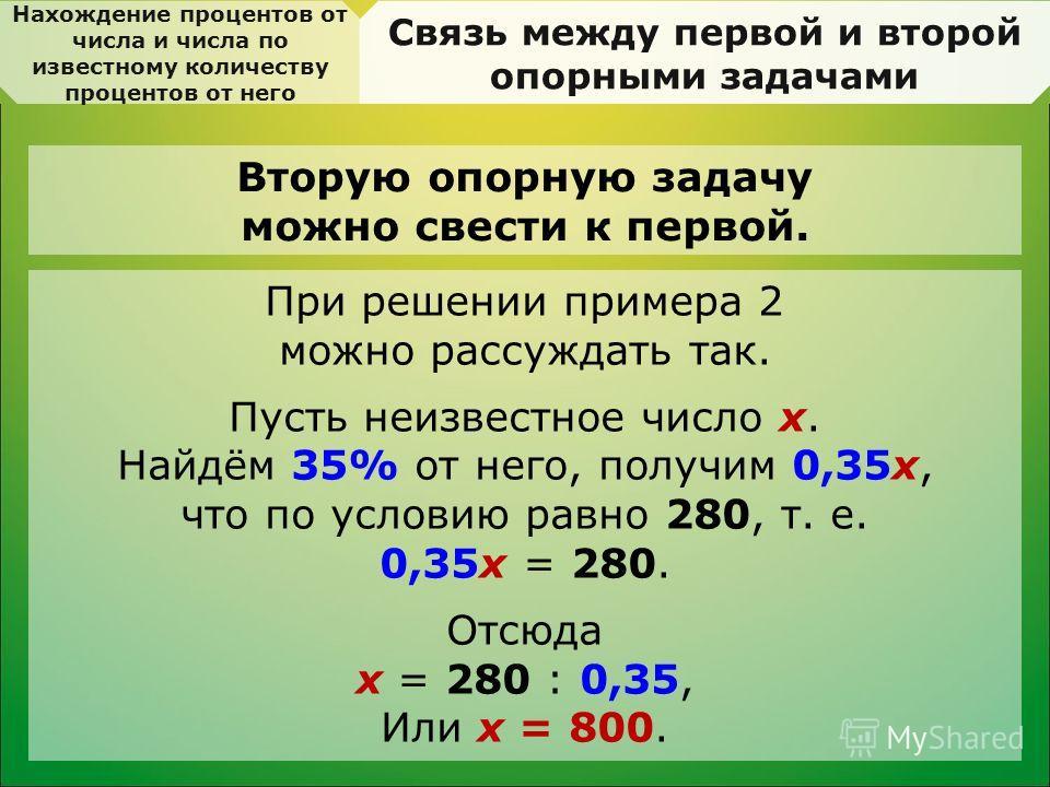 Нахождение процентов от числа и числа по известному количеству процентов от него Связь между первой и второй опорными задачами Вторую опорную задачу можно свести к первой. При решении примера 2 можно рассуждать так. Пусть неизвестное число х. Найдём