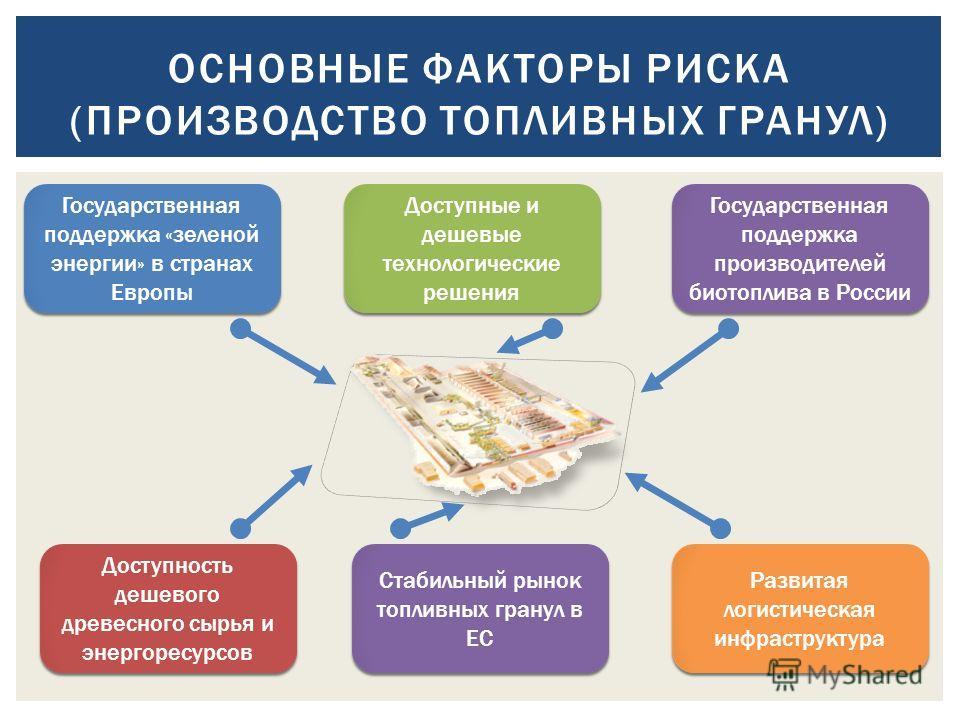 ОСНОВНЫЕ ФАКТОРЫ РИСКА (ПРОИЗВОДСТВО ТОПЛИВНЫХ ГРАНУЛ) Государственная поддержка «зеленой энергии» в странах Европы Государственная поддержка производителей биотоплива в России Доступность дешевого древесного сырья и энергоресурсов Стабильный рынок т