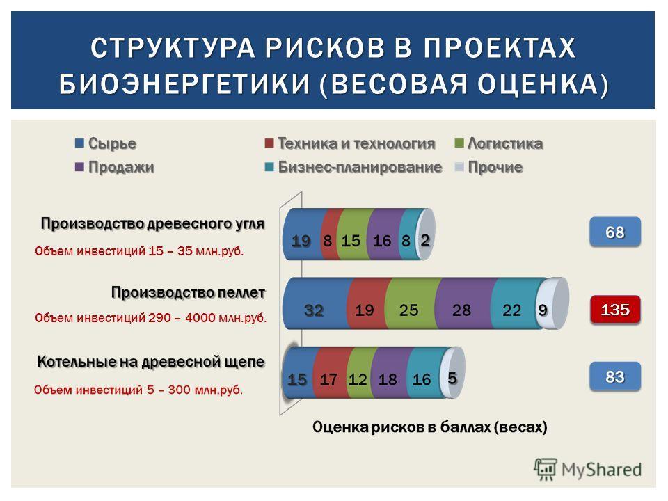 СТРУКТУРА РИСКОВ В ПРОЕКТАХ БИОЭНЕРГЕТИКИ (ВЕСОВАЯ ОЦЕНКА) 135135 Объем инвестиций 15 – 35 млн.руб. Объем инвестиций 290 – 4000 млн.руб.