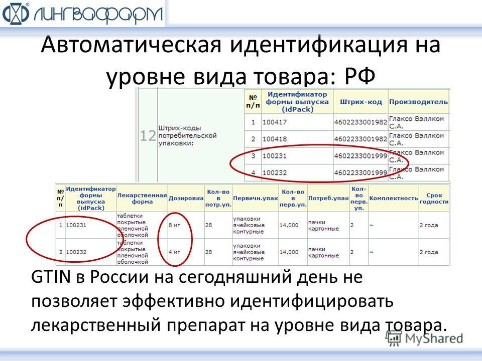 Автоматическая идентификация на уровне вида товара: РФ GTIN в России на сегодняшний день не позволяет эффективно идентифицировать лекарственный препарат на уровне вида товара.