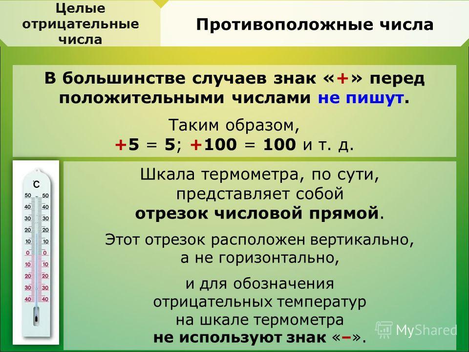 В большинстве случаев знак «+» перед положительными числами не пишут. Таким образом, +5 = 5; +100 = 100 и т. д. Целые отрицательные числа Противоположные числа Шкала термометра, по сути, представляет собой отрезок числовой прямой. Этот отрезок распол