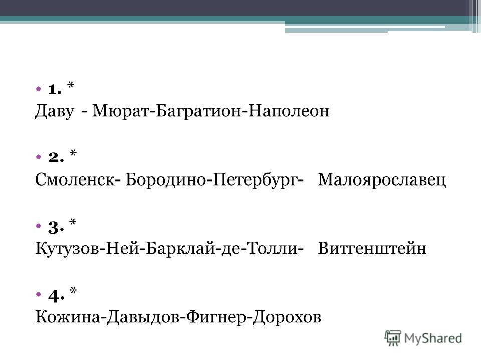 1. * Даву - Мюрат-Багратион-Наполеон 2. * Смоленск- Бородино-Петербург-Малоярославец 3. * Кутузов-Ней-Барклай-де-Толли-Витгенштейн 4. * Кожина-Давыдов-Фигнер-Дорохов