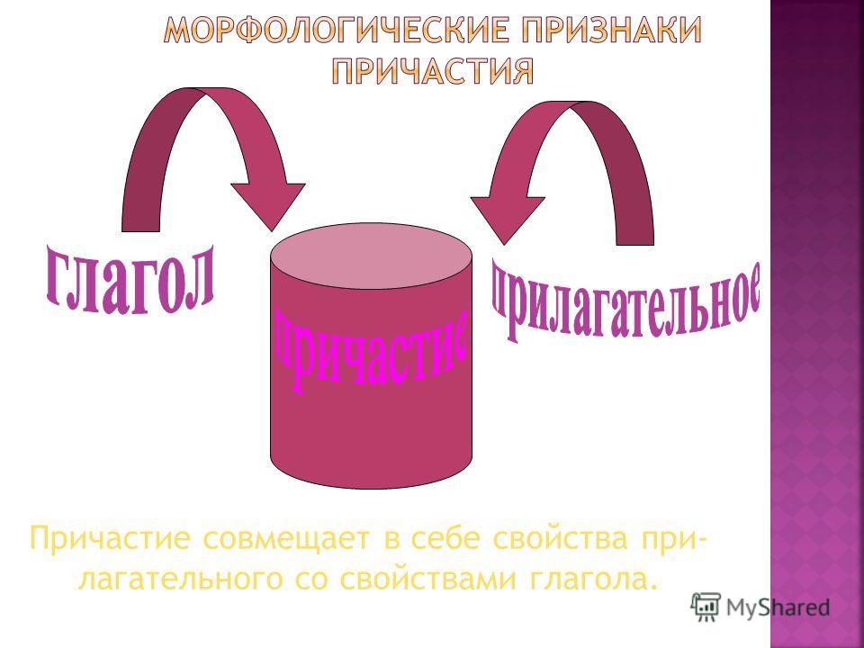 Причастие совмещает в себе свойства при- лагательного со свойствами глагола.