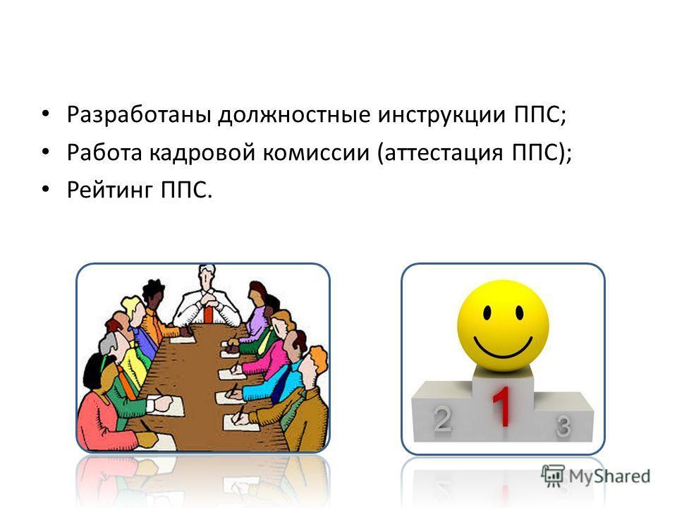 Разработаны должностные инструкции ППС; Работа кадровой комиссии (аттестация ППС); Рейтинг ППС.