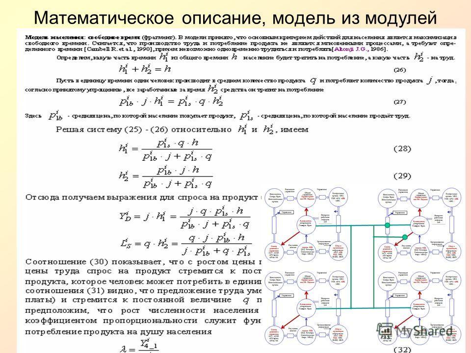 Математическое описание, модель из модулей
