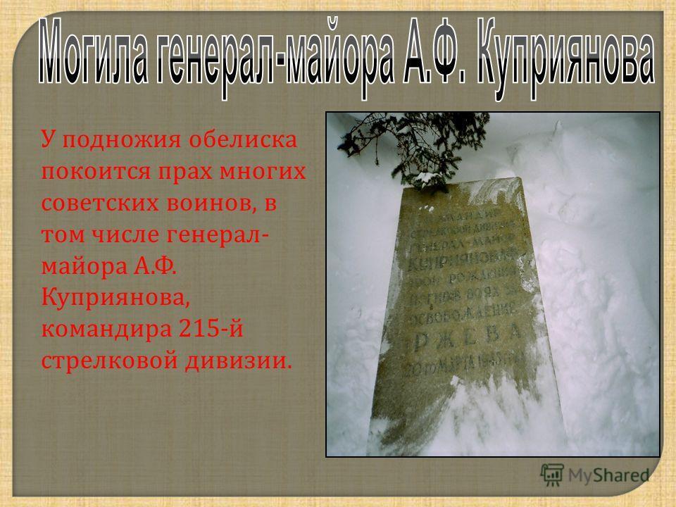 У подножия обелиска покоится прах многих советских воинов, в том числе генерал - майора А. Ф. Куприянова, командира 215- й стрелковой дивизии.