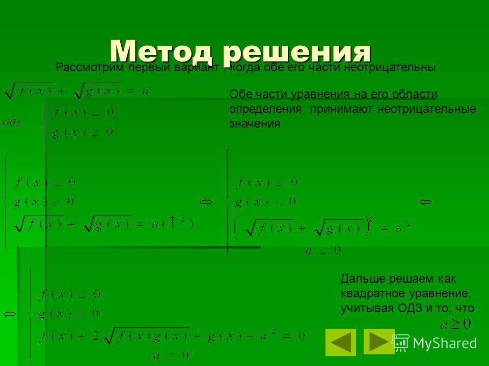 Метод решения Метод решения Дальше решаем как квадратное уравнение, учитывая ОДЗ и то, что Обе части уравнения на его области определения принимают неотрицательные значения Рассмотрим первый вариант, когда обе его части неотрицательны