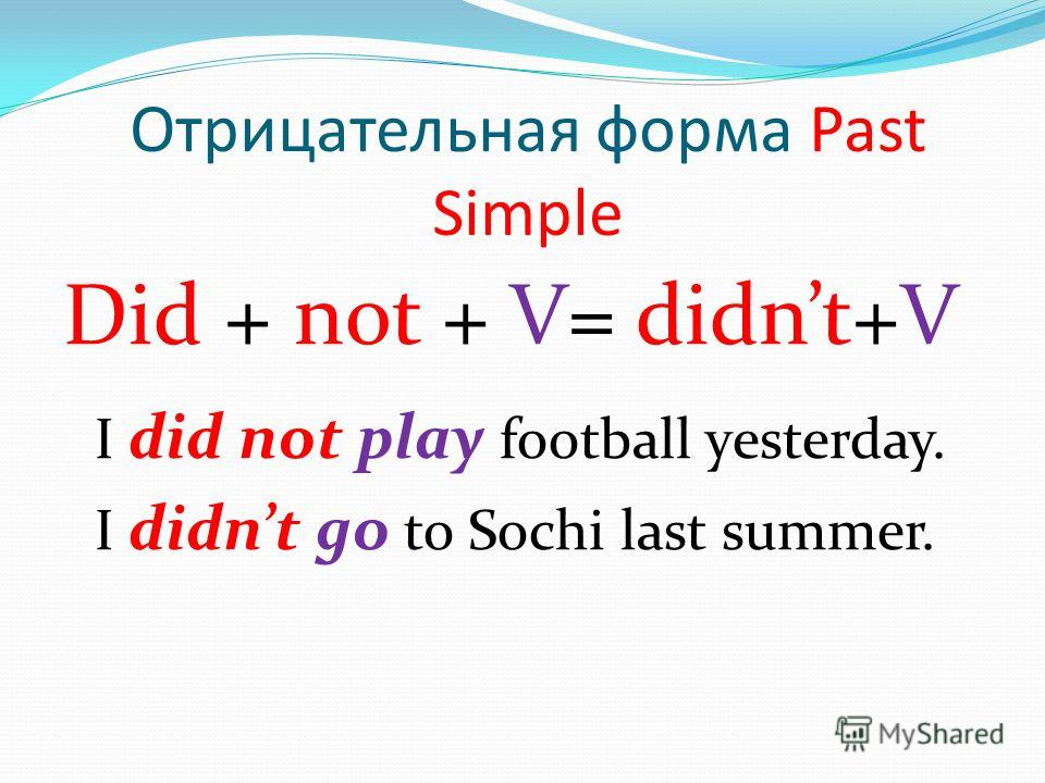 Отрицательная форма Past Simple Did + not + V= didnt+V I did not play football yesterday. I didnt go to Sochi last summer.