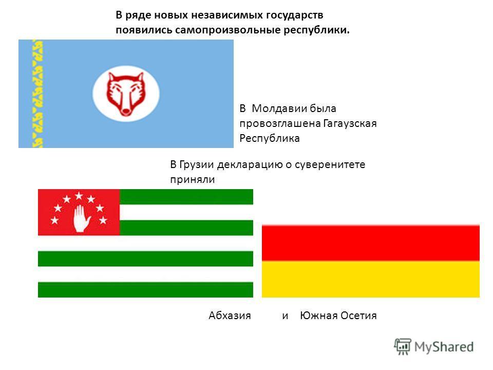 В ряде новых независимых государств появились самопроизвольные республики. В Грузии декларацию о суверенитете приняли Абхазия и Южная Осетия В Молдавии была провозглашена Гагаузская Республика