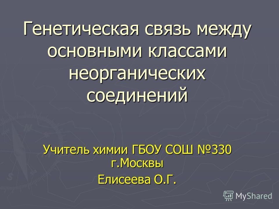 Генетическая связь между основными классами неорганических соединений Учитель химии ГБОУ СОШ 330 г.Москвы Елисеева О.Г.