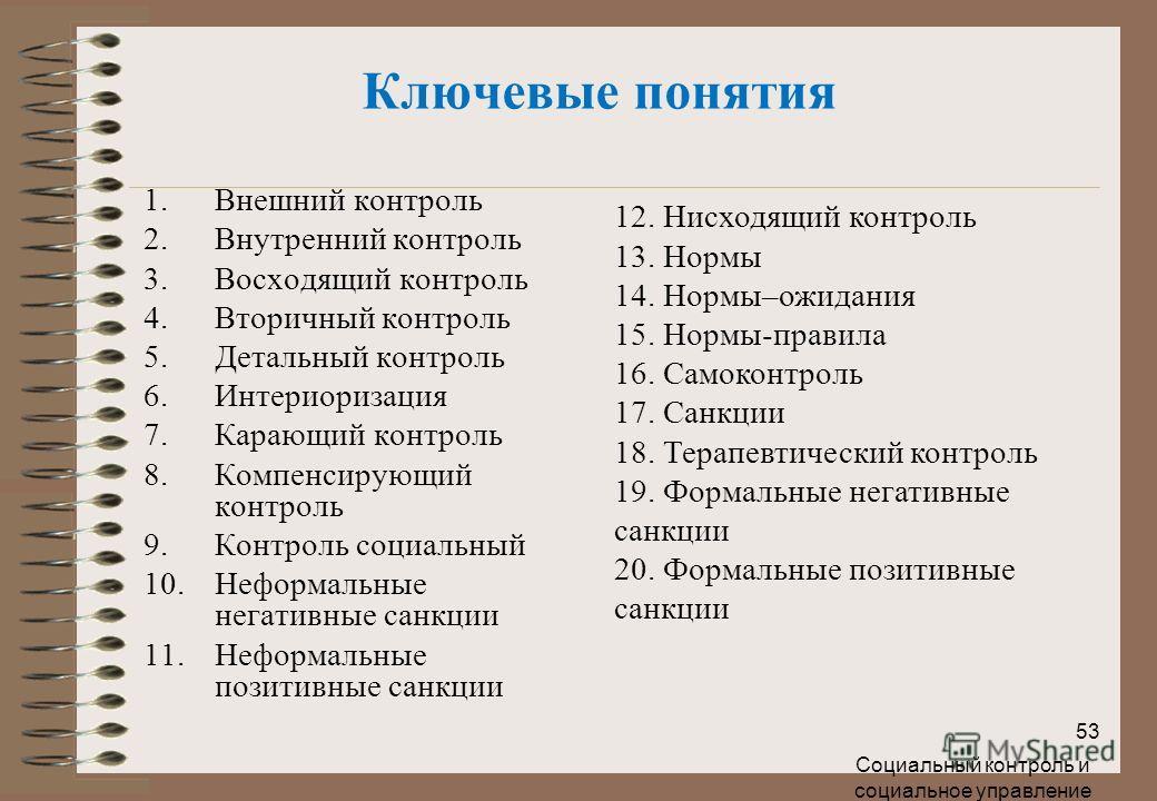 Социальный контроль и социальное управление 53 Ключевые понятия 1.Внешний контроль 2.Внутренний контроль 3.Восходящий контроль 4.Вторичный контроль 5.Детальный контроль 6.Интериоризация 7.Карающий контроль 8.Компенсирующий контроль 9.Контроль социаль