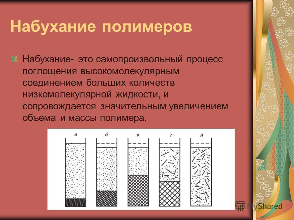 Набухание полимеров Набухание- это самопроизвольный процесс поглощения высокомолекулярным соединением больших количеств низкомолекулярной жидкости, и сопровождается значительным увеличением объема и массы полимера.