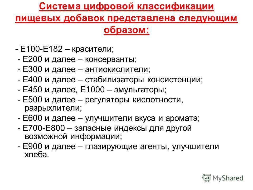Система цифровой классификации пищевых добавок представлена следующим образом: - Е100-Е182 – красители; - Е200 и далее – консерванты; - Е300 и далее – антиокислители; - Е400 и далее – стабилизаторы консистенции; - Е450 и далее, Е1000 – эмульгаторы; -