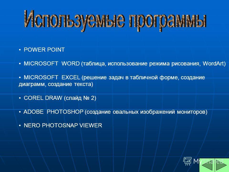 POWER POINT MICROSOFT WORD (таблица, использование режима рисования, WordArt) MICROSOFT EXCEL (решение задач в табличной форме, создание диаграмм, создание текста) COREL DRAW (слайд 2) ADOBE PHOTOSHOP (создание овальных изображений мониторов) NERO PH