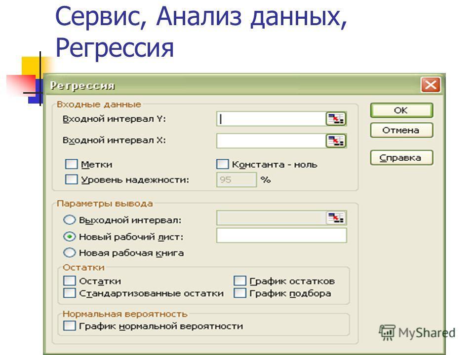 Сервис, Анализ данных, Регрессия