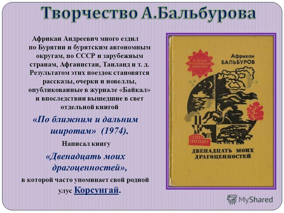Африкан Андреевич много ездил по Бурятии и бурятским автономным округам, по СССР и зарубежным странам, Афганистан, Таиланд и т. д. Результатом этих поездок становятся рассказы, очерки и новеллы, опубликованные в журнале «Байкал» и впоследствии вышедш