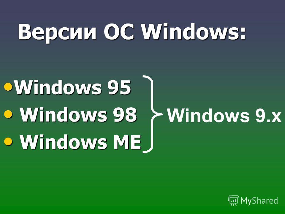Версии ОС Windows: Windows 95 Windows 95 Windows 98 Windows 98 Windows МЕ Windows МЕ Windows 9.х