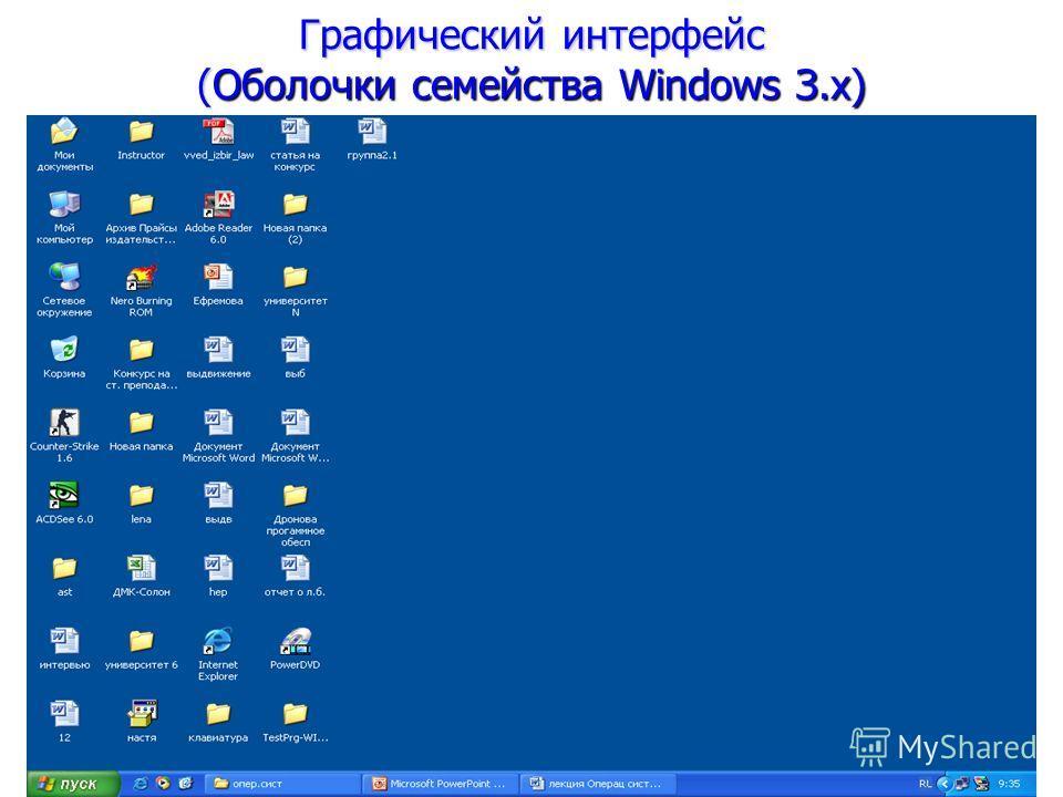 Графический интерфейс (Оболочки семейства Windows З.х)
