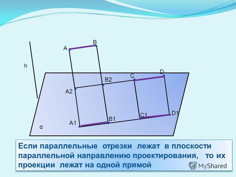 α h A C D D1 C1 B1 A1 A2 B2 B Если параллельные отрезки лежат в плоскости параллельной направлению проектирования, то их проекции лежат на одной прямой