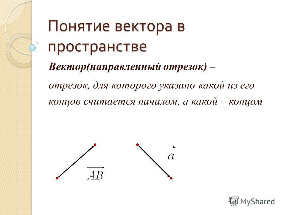 Понятие вектора в пространстве Вектор(направленный отрезок) – отрезок, для которого указано какой из его концов считается началом, а какой – концом