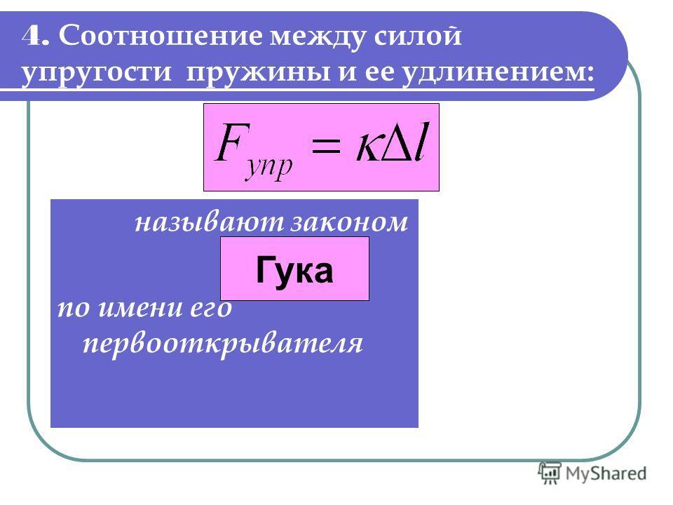 4. Соотношение между силой упругости пружины и ее удлинением: называют законом по имени его первооткрывателя. Гука