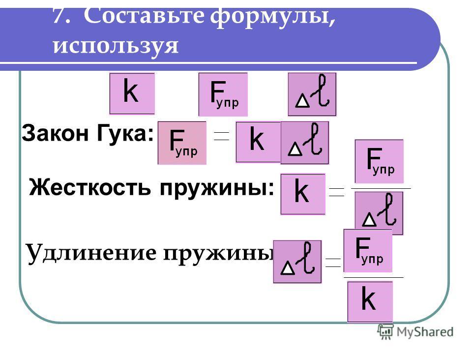 7. Составьте формулы, используя Удлинение пружины: Закон Гука: Жесткость пружины: