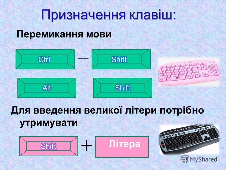 Перемикання мови Для введення великої літери потрібно утримувати Літера