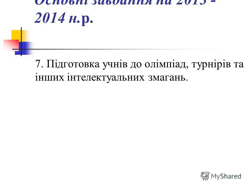 Основні завдання на 2013 - 2014 н.р. 7. Підготовка учнів до олімпіад, турнірів та інших інтелектуальних змагань.