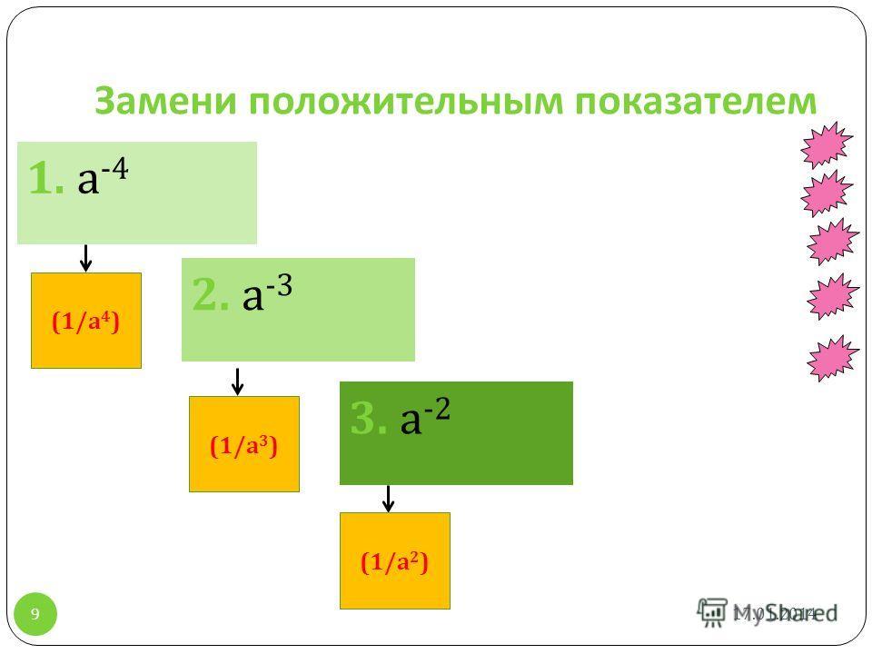 Запиши в стандартном виде 1. 3400 2. 0,034 3. 0,00024 3,4 х 10 3 3,4 х 10 -2 2,4 х 10 -4 17.01.2014 8
