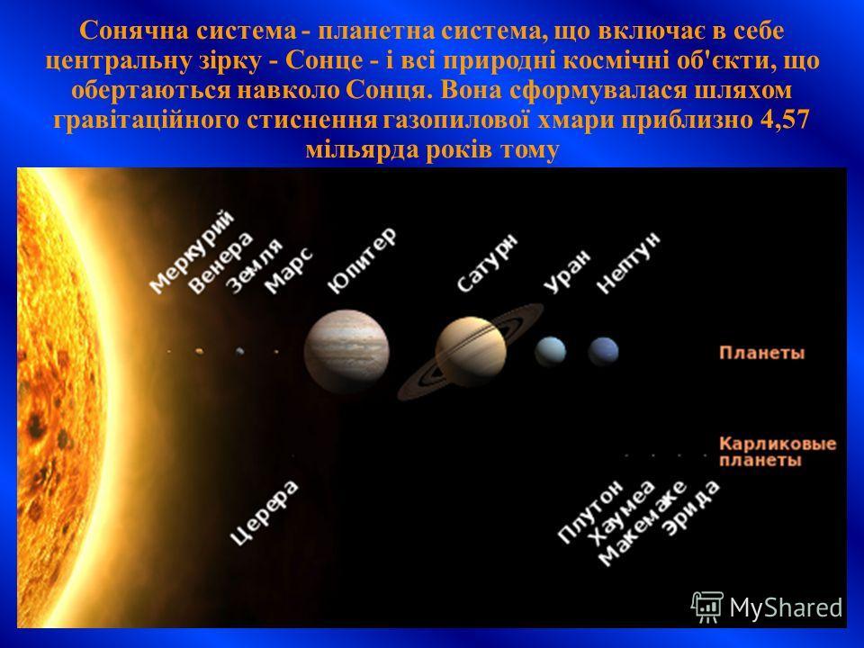 Сонячна система - планетна система, що включає в себе центральну зірку - Сонце - і всі природні космічні об'єкти, що обертаються навколо Сонця. Вона сформувалася шляхом гравітаційного стиснення газопилової хмари приблизно 4,57 мільярда років тому