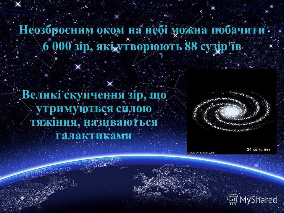 Неозброєним оком на небі можна побачити 6 000 зір, які утворюють 88 сузір'їв Великі скупчення зір, що утримуються силою тяжіння, називаються галактиками