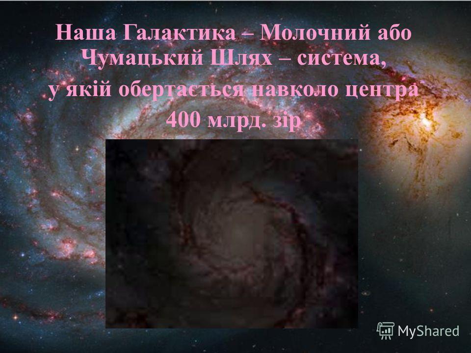 Наша Галактика – Молочний або Чумацький Шлях – система, у якій обертається навколо центра 400 млрд. зір
