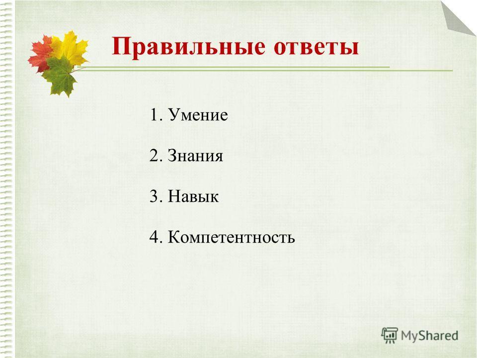 Правильные ответы 1. Умение 2. Знания 3. Навык 4. Компетентность