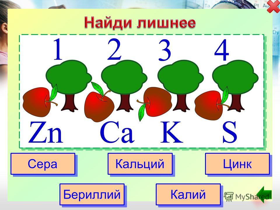 Сера Кальций Цинк Бериллий Калий