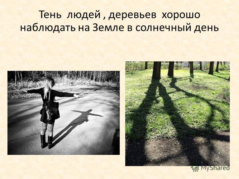 Тень людей, деревьев хорошо наблюдать на Земле в солнечный день